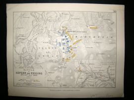 Battle of Aspern or Essling, Vienna, Austria: 1848 Antique Battle Plan. Johnston